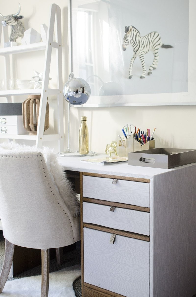 Dorm Room Decor Desk With Removable Wallpaper Silver Task Lamp And Large Scale