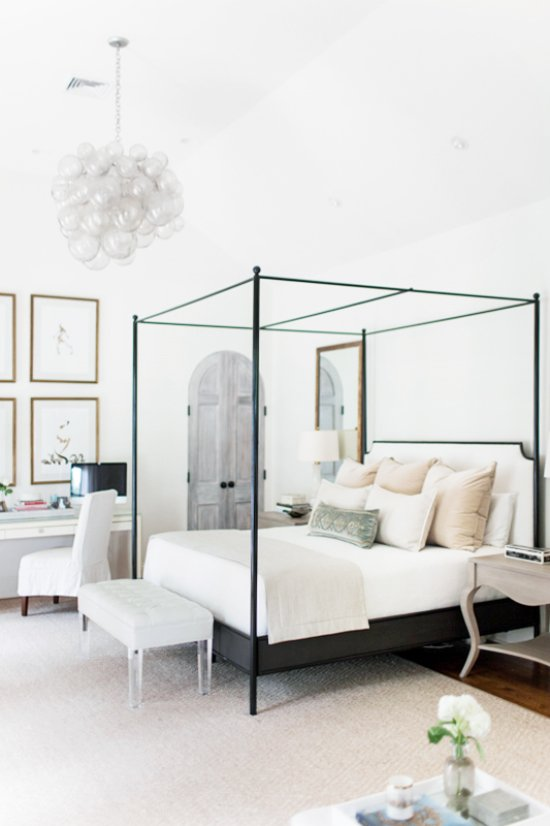 Neutral Master Bedroom With Metal Canopy Bed On Thou Swell Thouswellblog