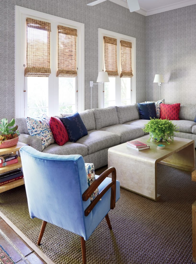 Colorful New Orleans Living Room With Sectional And Blue Armchair On Thou  Swell @thouswellblog