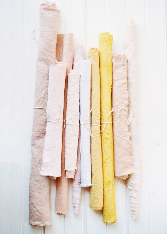 Pink and yellow naturally-dyed fabric DIY on Thou Swell @thouswellblog