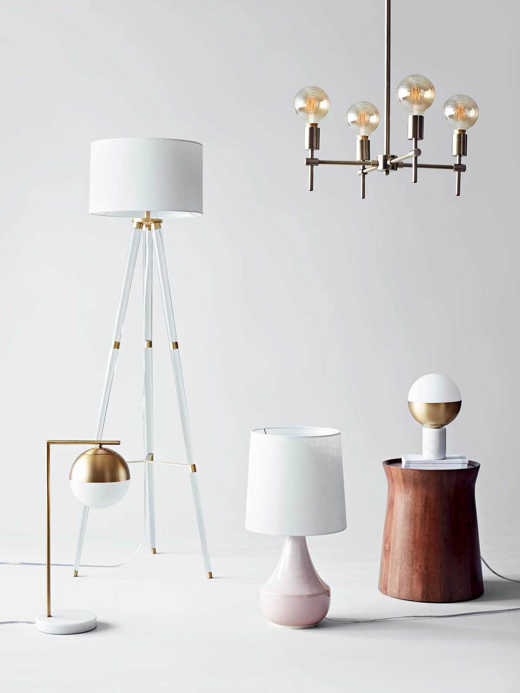 Modern lighting with lucite and brass from Project 62 on Thou Swell @thouswellblog