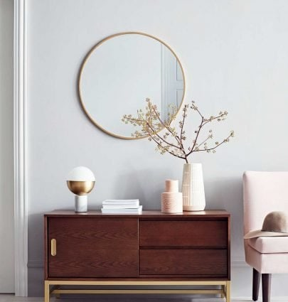 Modern sideboard and round mirror with blush slipper chair from Project 62 on Thou Swell @thouswellblog