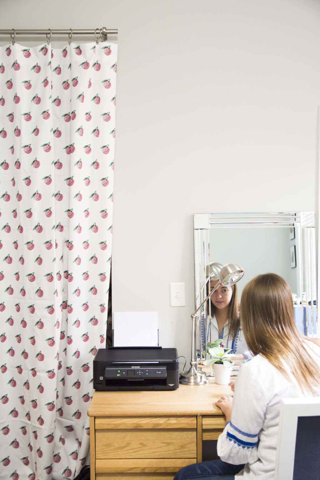 Curtains with pink peach fruit pattern from Minted on Thou Swell @thouswellblog