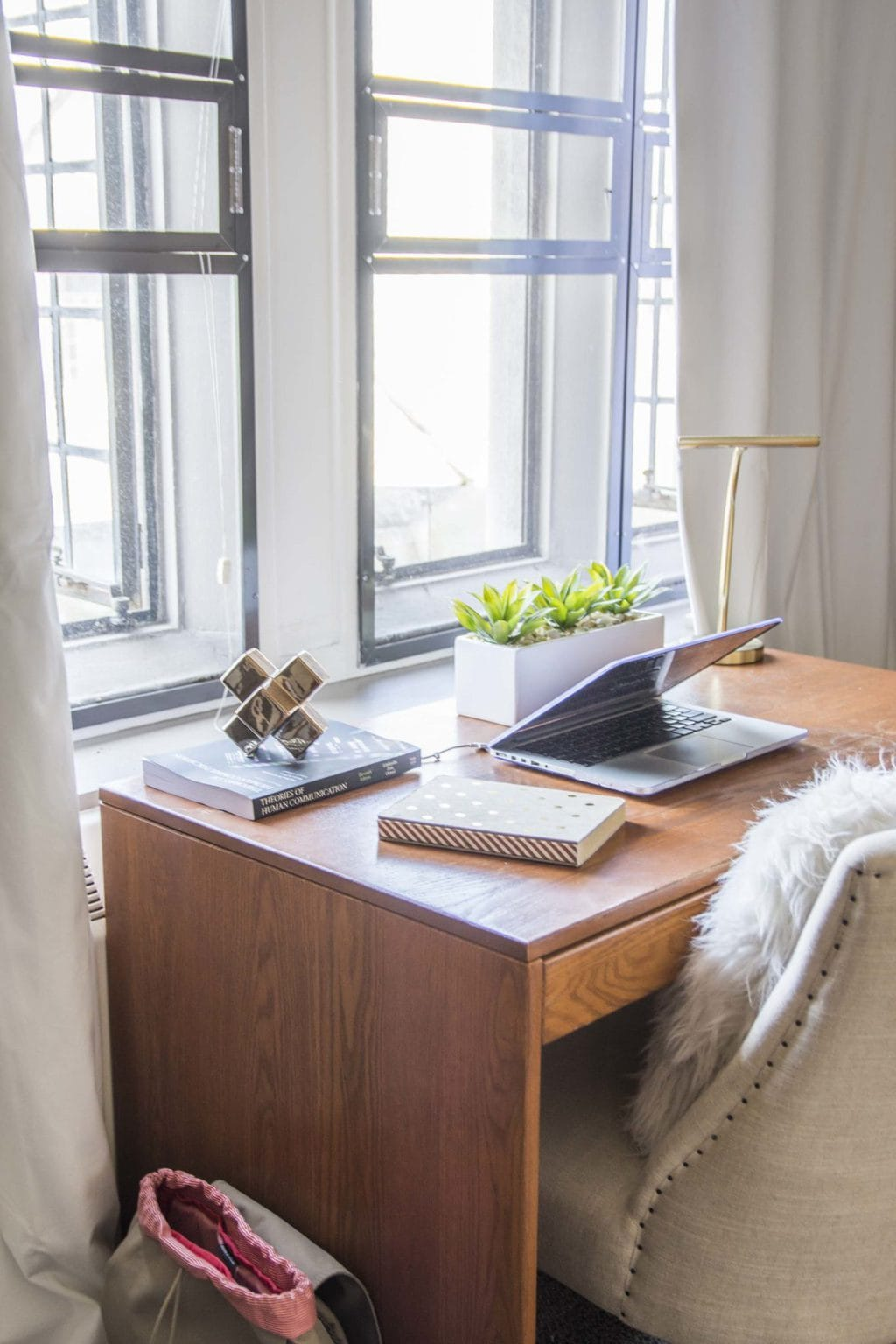 Dorm room desk with velvet curtains and upholstered desk chair on Thou Swell @thouswellblog