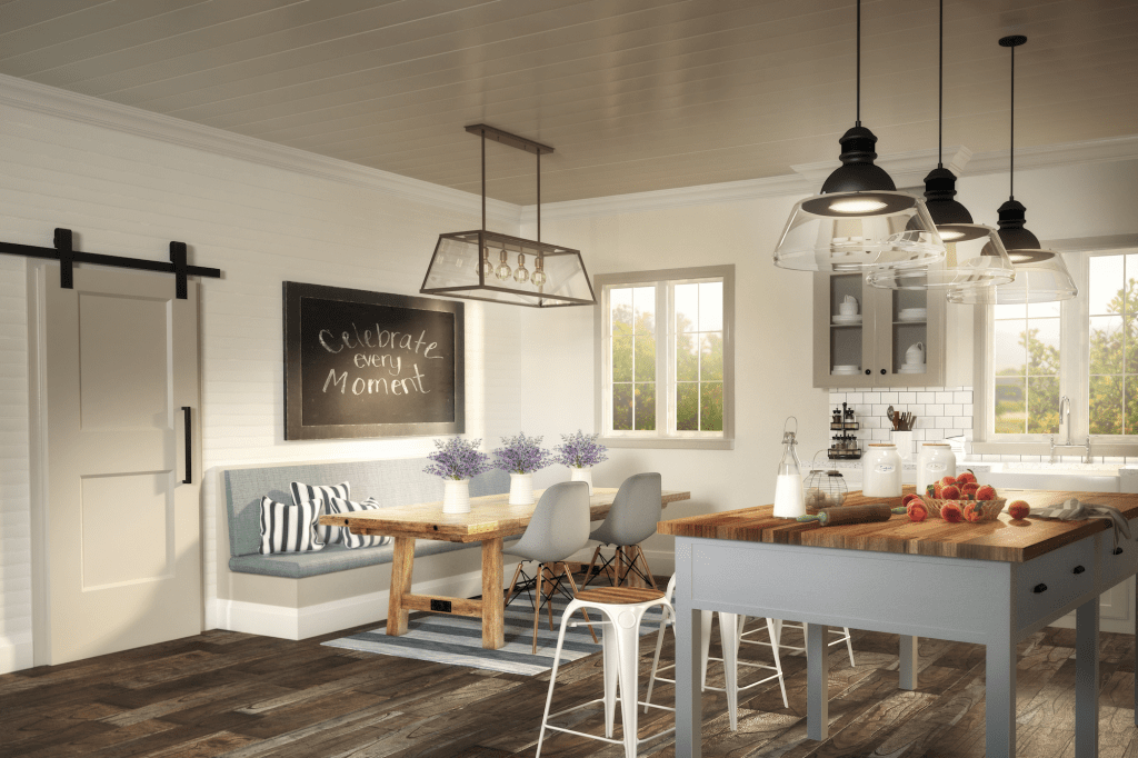 Modern farmhouse kitchen featuring Metrie Option {M} interior moulding and door collection on Thou Swell @thouswellblog