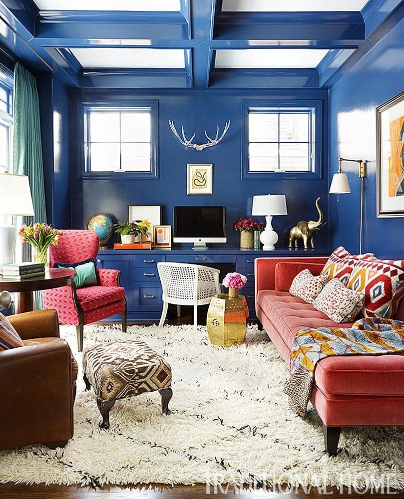 High gloss blue living room on Thou Swell @thouswellblog