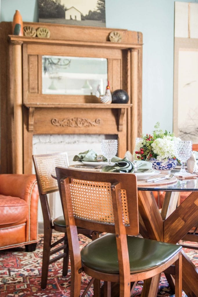 Southern inspired Thanksgiving table in sage green dining room on Thou Swell @thouswellblog