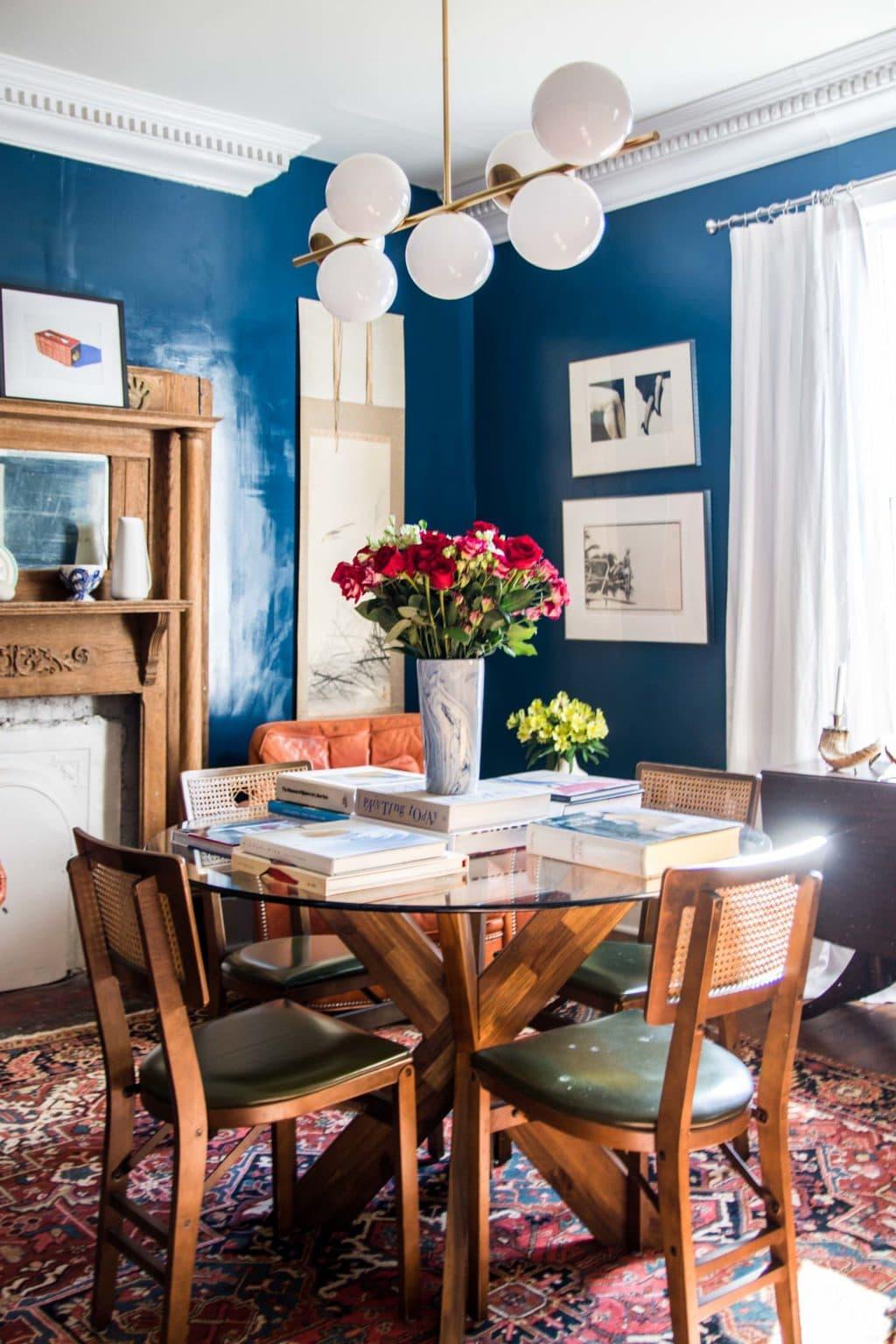 High Gloss Blue Dining Room Reveal Thou Swell