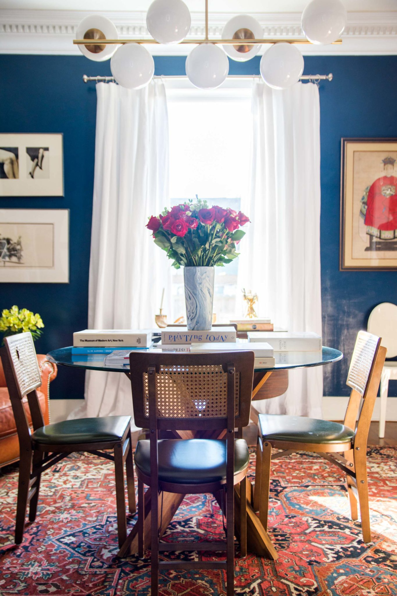 I Am So Excited To Share The Reveal Of The Bold New Dining Room At Tye  Street Project, Completely Reimagined With A Dark High Gloss Blue On The  Walls And A ...