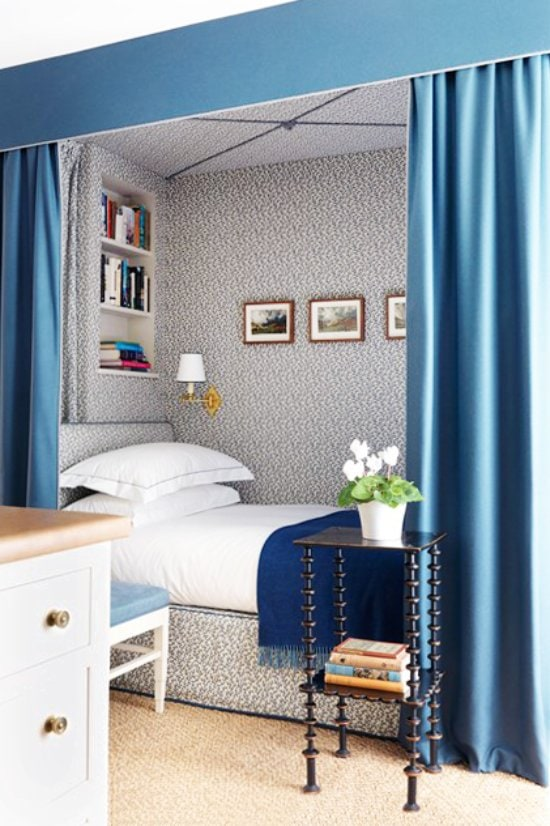 Blue built-in bed nook with canopy on Thou Swell @thouswellblog