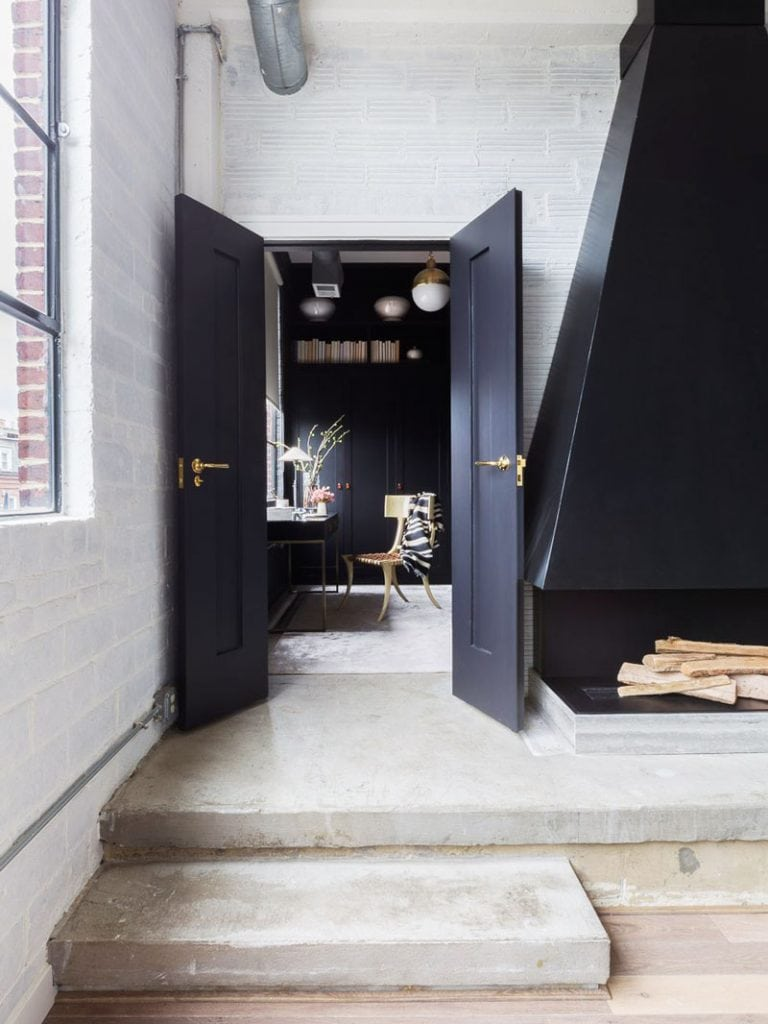 Black doors to home office on Thou Swell @thouswellblog