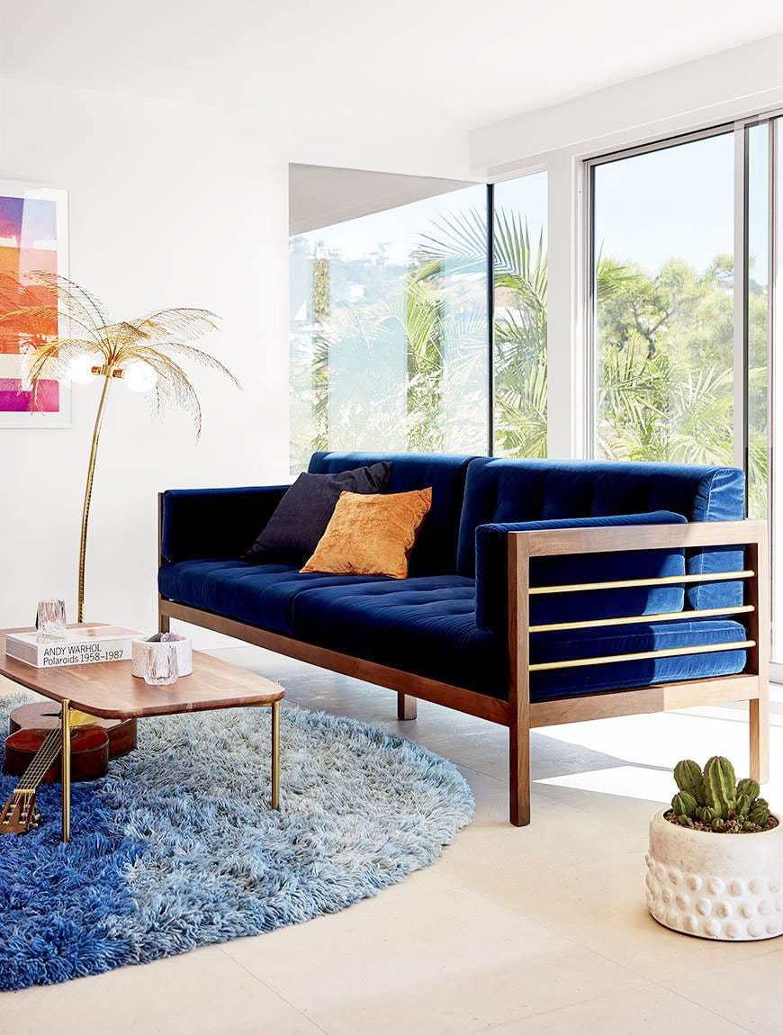 (Hollywood Midnight Blue Velvet Sofa)