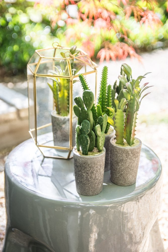 Grey face stool with succulents and brass lantern on Thou Swell @thouswellblog