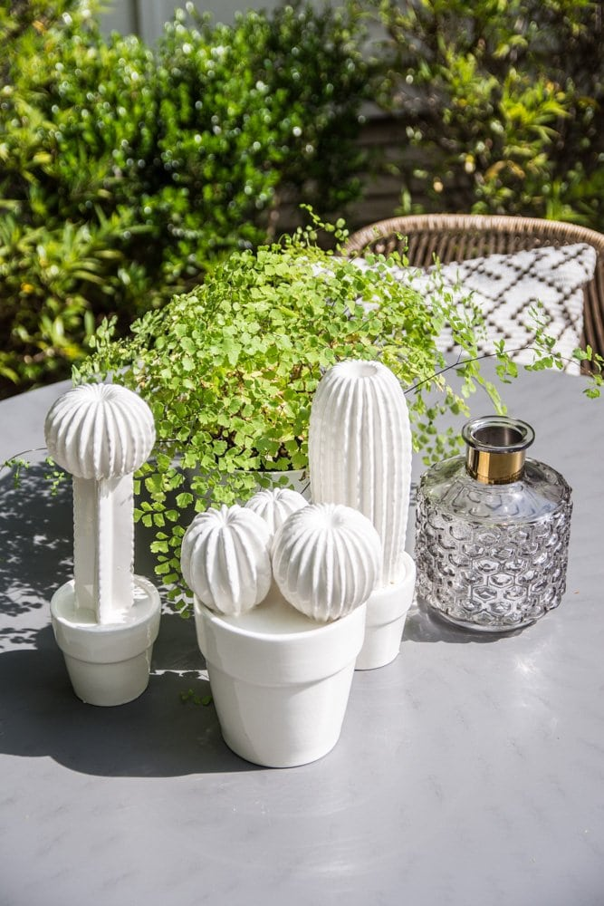Dining table accessories with ceramic cacti and fern on Thou Swell @thouswellblog