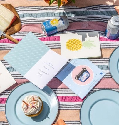A celebratory summer birthday picnic with easy snacks and American Greetings cards on Thou Swell @thouswellblog