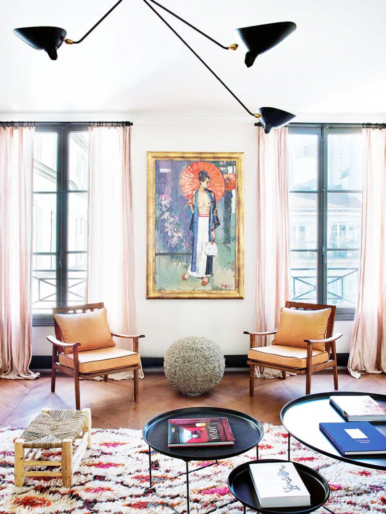 Living Room Apartment Decor With Blush Curtains In Paris On Thou Swell Thouswellblog