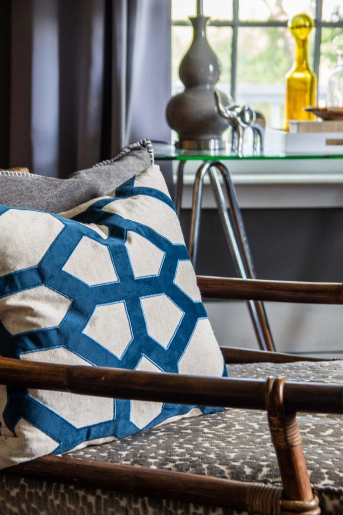 Gray and blue living room in Atlanta, GA with modern and vintage mix on Thou Swell @thouswellblog