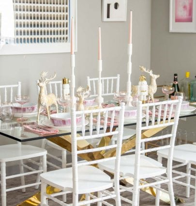 Pink and gold holiday table with At Home on Thou Swell @thouswellblog