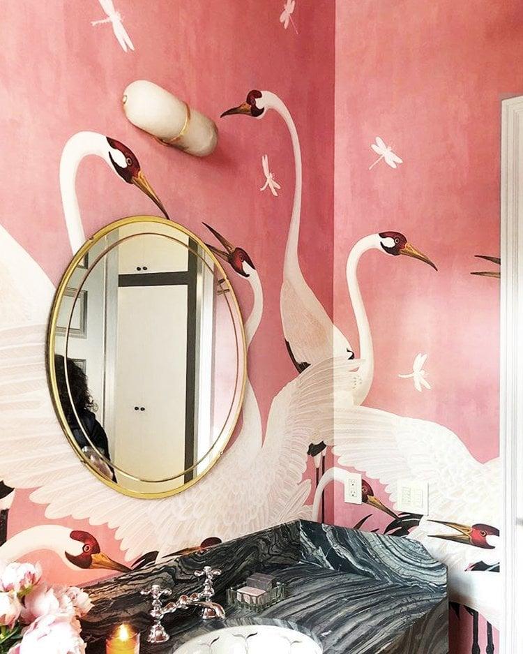 Pink heron Gucci wallpaper in Susan Petersen's bathroom on Thou Swell @thouswellblog