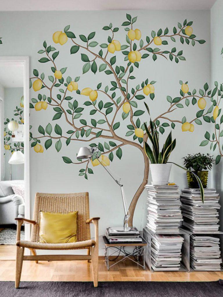 Lemon tree wall mural on Thou Swell @thouswellblog