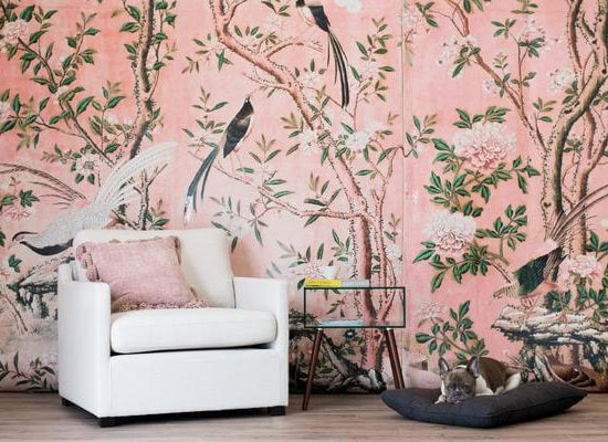 Pink floral landscape with trees and birds Chinoiserie wallpaper mural on Thou Swell @thouswellblog