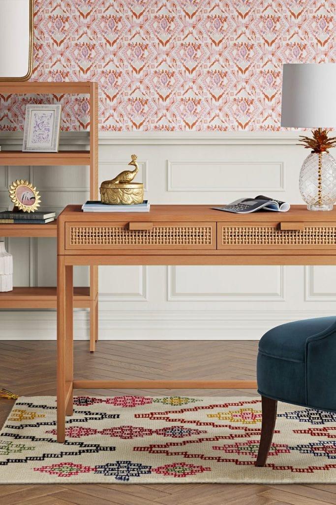 Rattan wicker cane desk on Thou Swell, cane furniture roundup #canefurniture #wickerfurniture #rattanfurniture