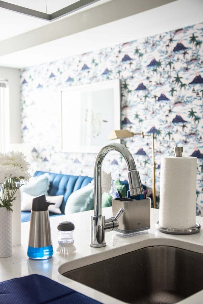 Spring cleaning in a modern kitchen design with @oxo cleaning tools on Thou Swell AD #oxobetter #springcleaning #kitchen #kitchendesign