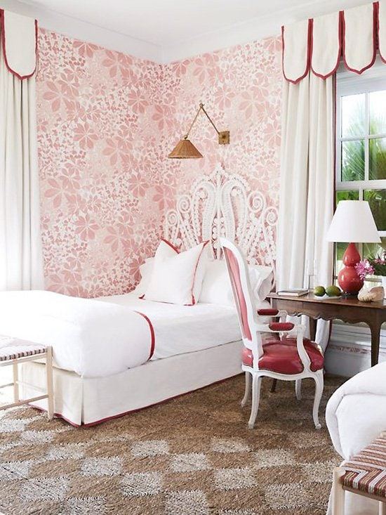 Red and pink girls bedroom with twin beds by Miles Redd in Bahamas home tour on Thou Swell #kidsbedroom #kidsroom #girlsbedroom #twinbedroom #twinbeds #bedroom #bedroomdesign #milesredd