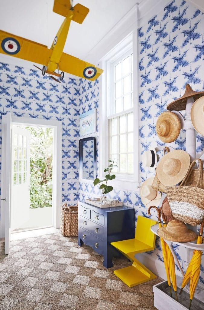 Blue bunkroom kids bedroom in Bahamas home tour by Miles Redd on Thou Swell #bunkroom #kidsbedroom #kidsroom #bunkbeds #boysbedroom #kidsroom #twinbeds #milesredd #bahamas