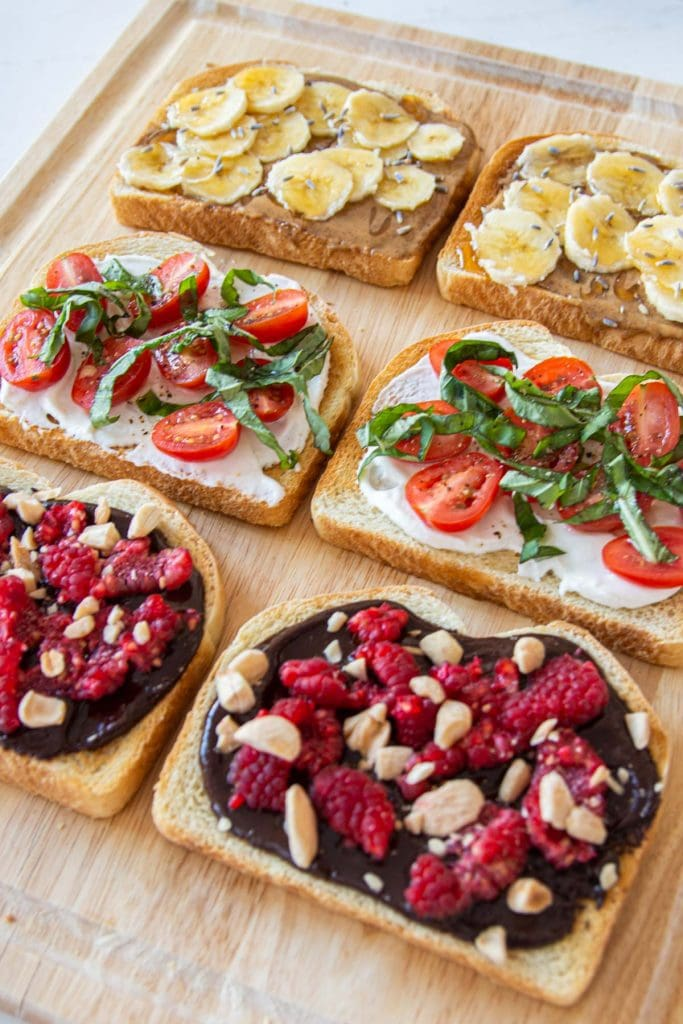 Three toast recipes with the Revolution Cooking R180 High-Speed Smart Toaster: almond butter toast, labne toast, and chocolate toast recipes on Thou Swell #toast #toaster #smarttoaster #recipe #recipes #easyrecipe #toastrecipe #cooking
