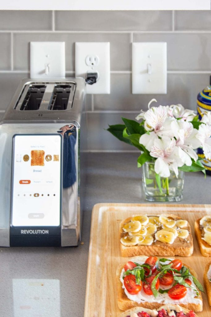 Revolution Cooking R180 R180 High-Speed Smart Toaster with three toast recipes for any time of day on Thou Swell #toaster #smarttoaster #cooking #kitchen #smartkitchen #touchscreentoaster #luxurykitchen #toast #recipe