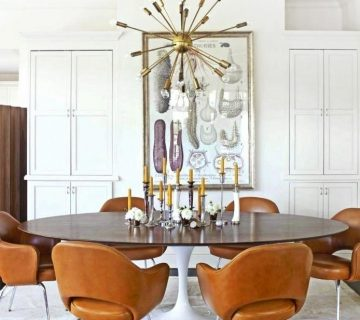 Design Within Reach founder dining room in Connecticut with tulip table and leather chairs on Thou Swell #diningroom #dining #moderndining #tuliptable #designwithinreach #housebeautiful