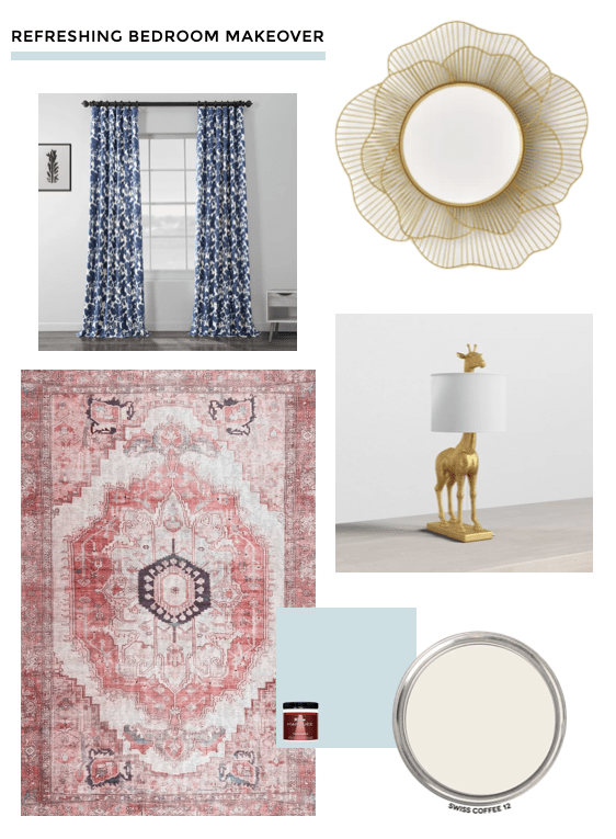 Neo-traditional bedroom makeover design board with red vintage-style rug, blue floral curtains, and gold floral mirror. Behr Waterfall and Swiss Coffee paint colors design plan on Thou Swell #bedroom #bedroommakeover #bedroomdesign #designplans #designboard