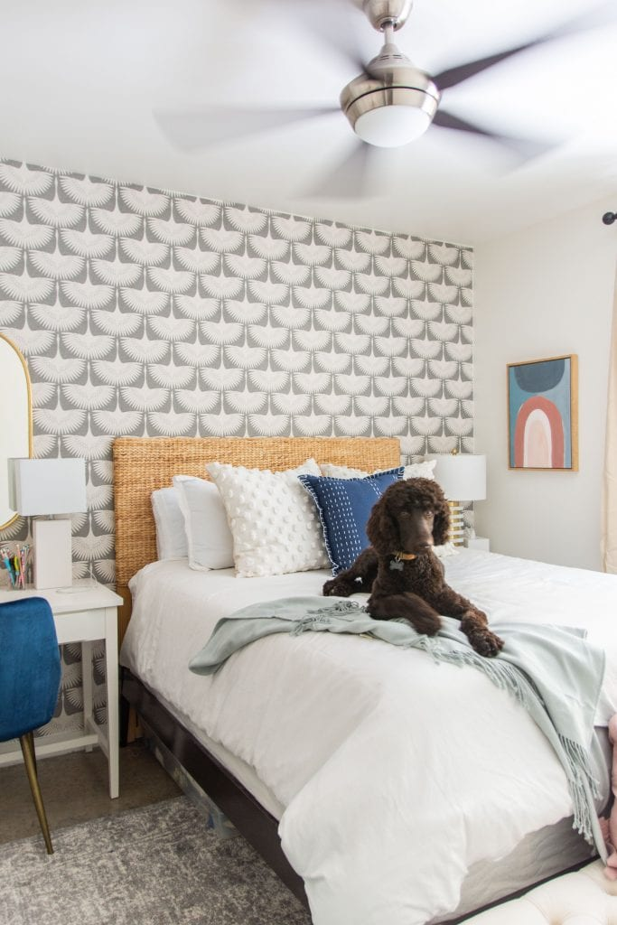 Back to class college bedroom dorm decor interior design inspiration with grey bird wallpaper, blue decor, retro mini-fridge, and modern style on Thou Swell #backtoclass #homedepot #homedepotxbacktoclass #homedepotpartner #dormdecor #dormstyle #collegestyle #collegedorm #collegebedroom #apartment #apartmentdecor #bedroomdecor #bedroomdesign #dormdesign