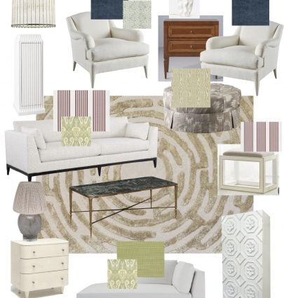 Living room design board for the One Room Challenge by Kevin O'Gara with mix of traditional and contemporary design, tufted rug, striped sofa, and velvet chairs on Thou Swell