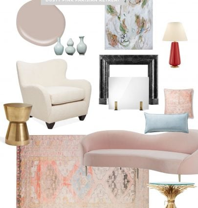 Dusty pink Parisian living room design on Thou Swell