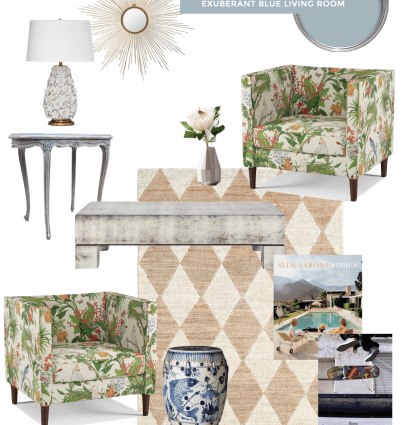 Eclectic blue living room home decor board with Farrow & Ball Parma Grey, floral armchairs, and checkered rug on Thou Swell