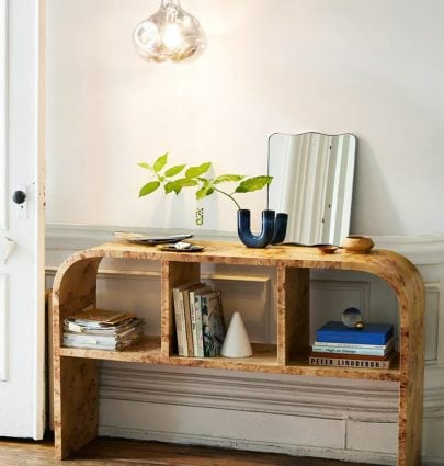 Pied-a-terre furniture collection by Urban Outfitters home with burl wood console table on Thou Swell